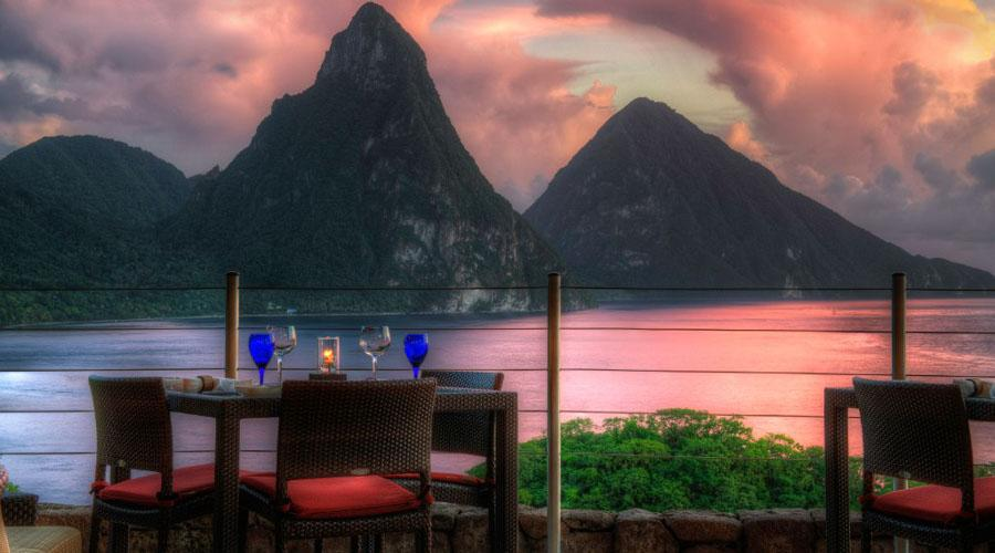dining table overlooking the pitons