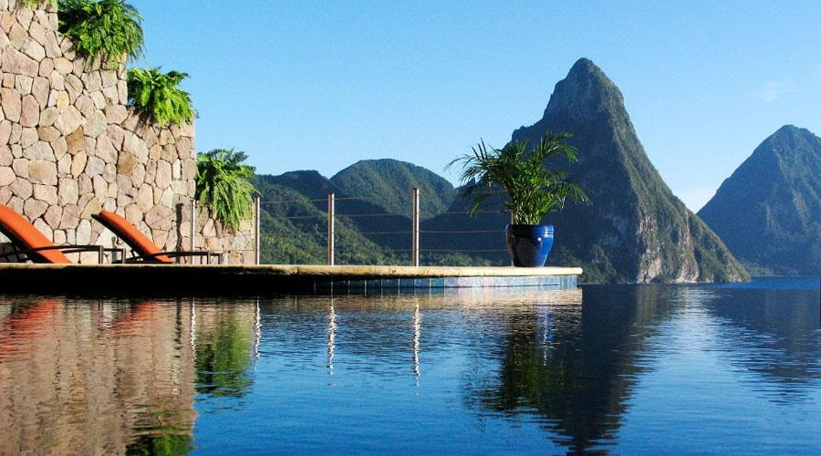 infinity pool overlooking the pitons