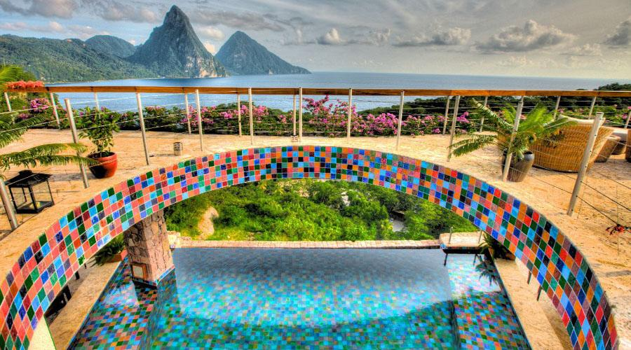 top terrace overlooking the pool and the pitons
