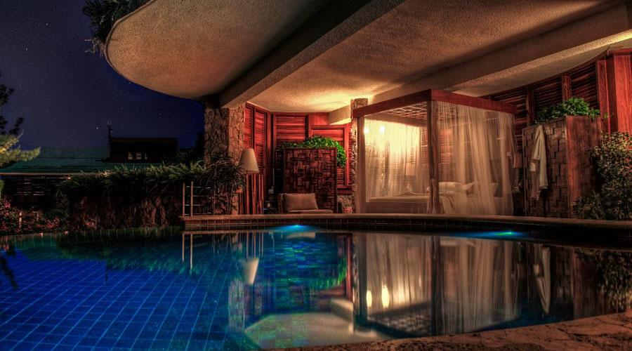 private sanctuary pool by night