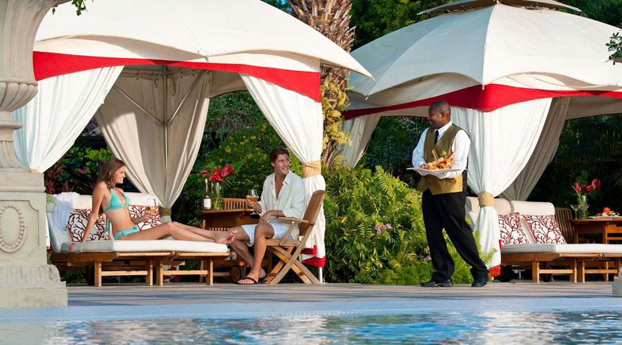 Private cabanas around the pool