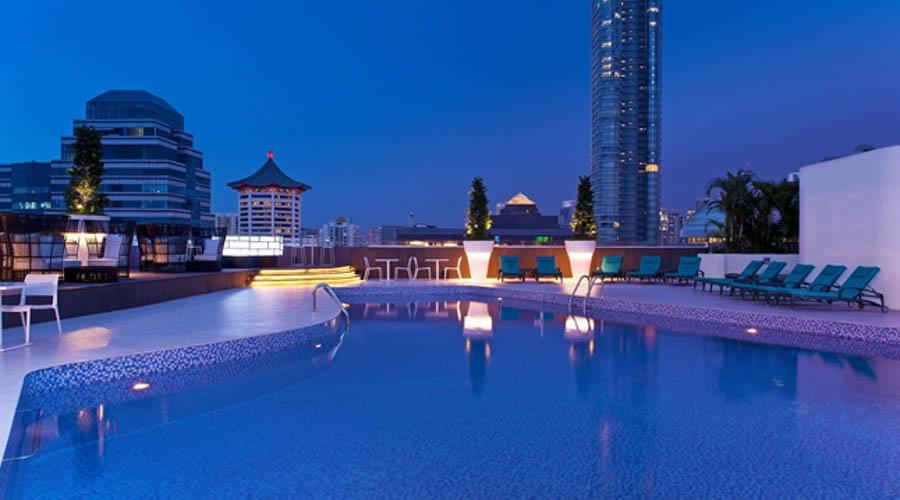 rooftop pool by night