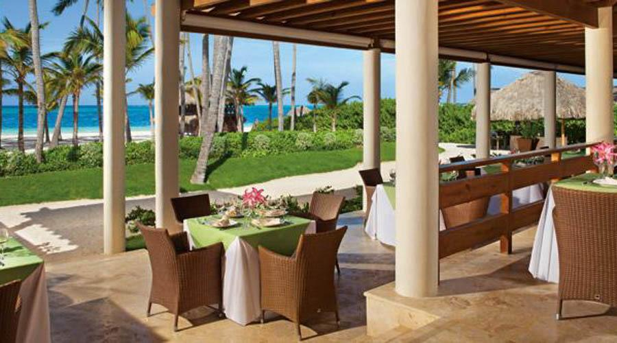 outside dining area and beach